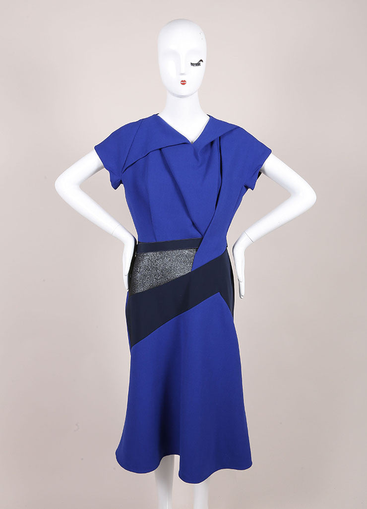 Peter Pilotto New With Tags Black Metallic Wool Cobalt Sash Dress Frontview