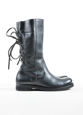 Black Leather Rick Owens Lace Up Mid Calf Rounded Toe Motorcycle Boots Sideview