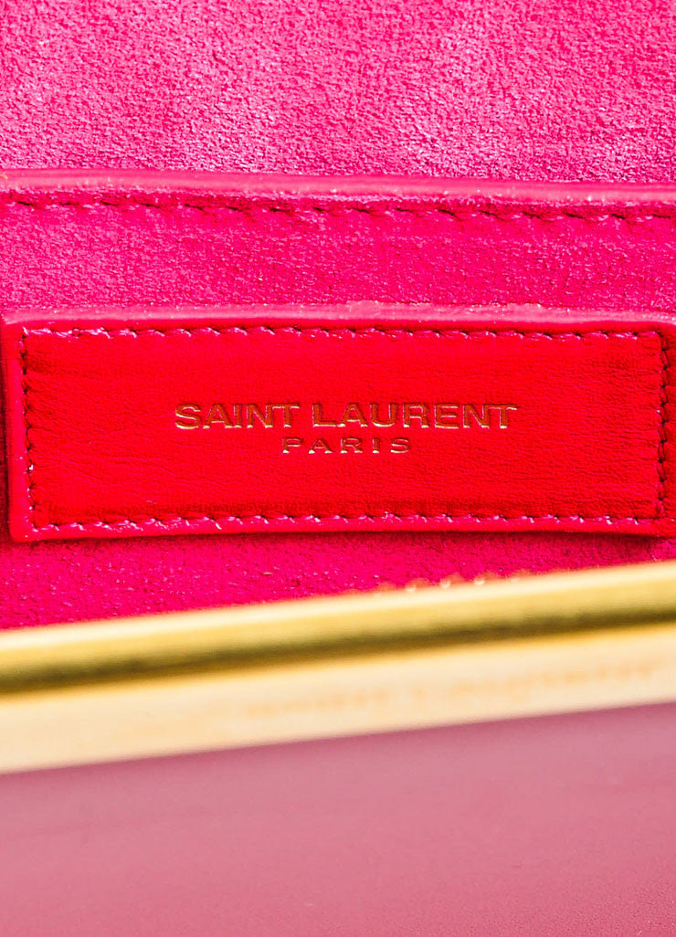 "Magenta Pink and Gold Toned Saint Laurent Leather ""Lutetia"" Box Clutch Bag Brand"