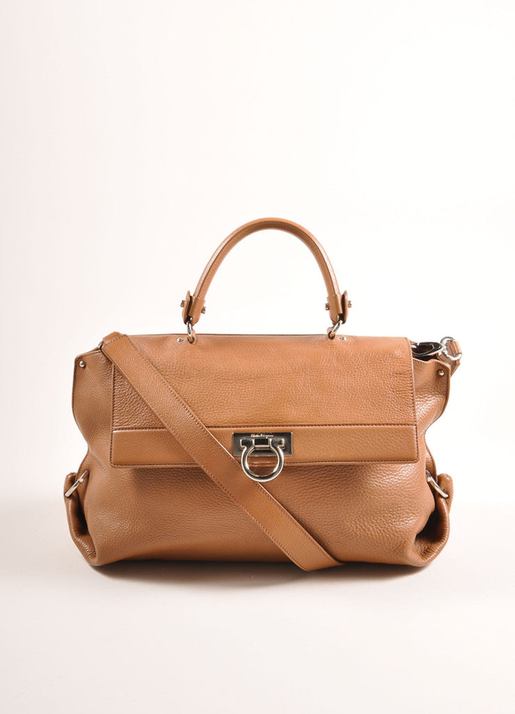 "Cognac and Silver Toned Pebbled Leather ""Sofia"" Satchel Bag"