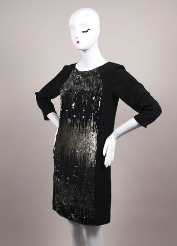 Schumacher New With Tags Black and Grey Sequin Embellished Shift Dress Sideview