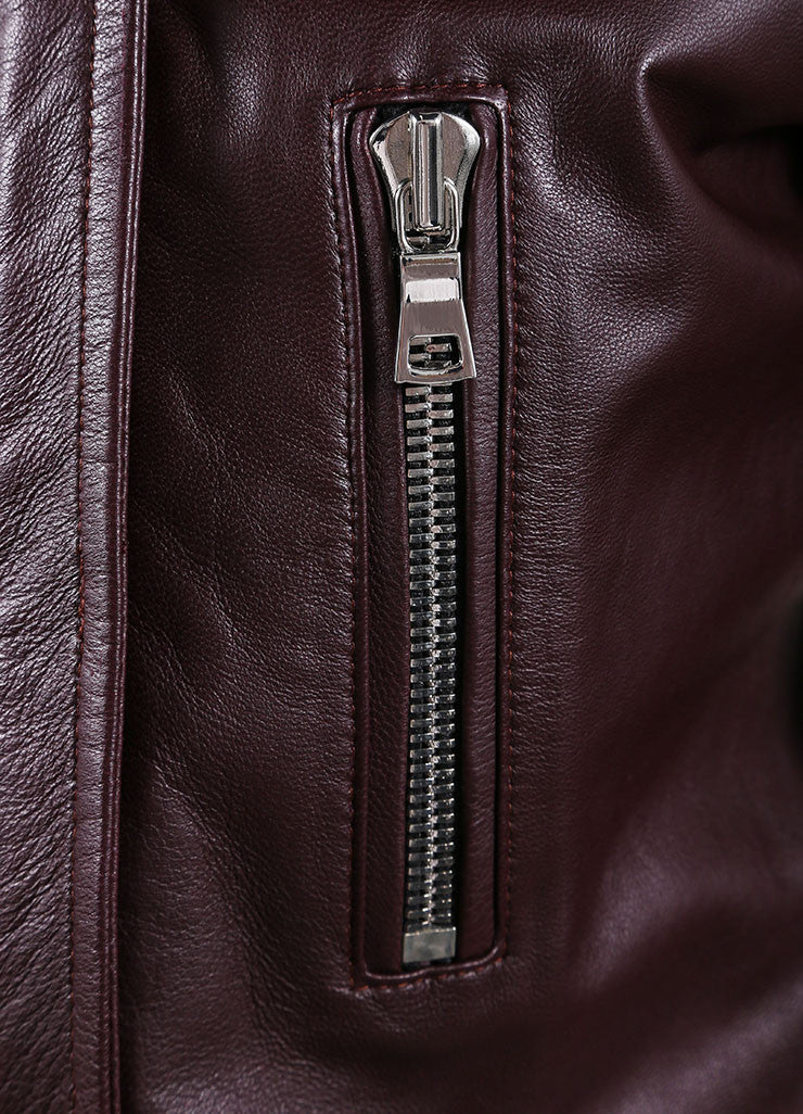 "The Perfext Wine Red Leather ""Jaime"" Moto Zip Trim Jacket Detail"