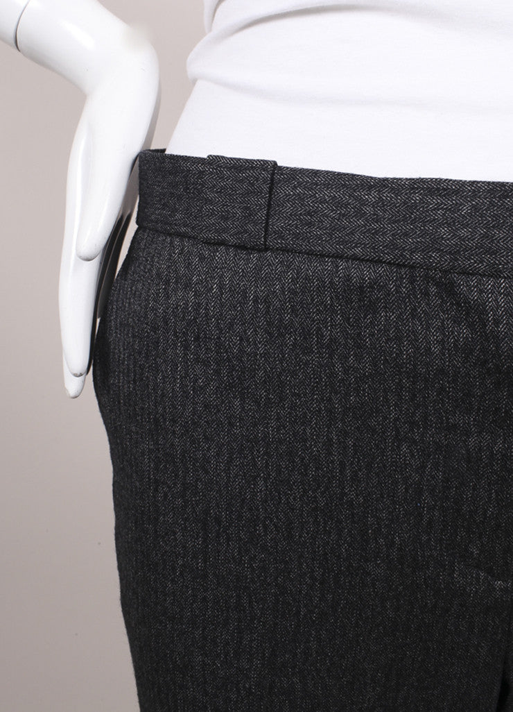 "The Row New With Tags Charcoal Grey Herringbone Wool ""Inoma"" Ankle Trousers Detail"