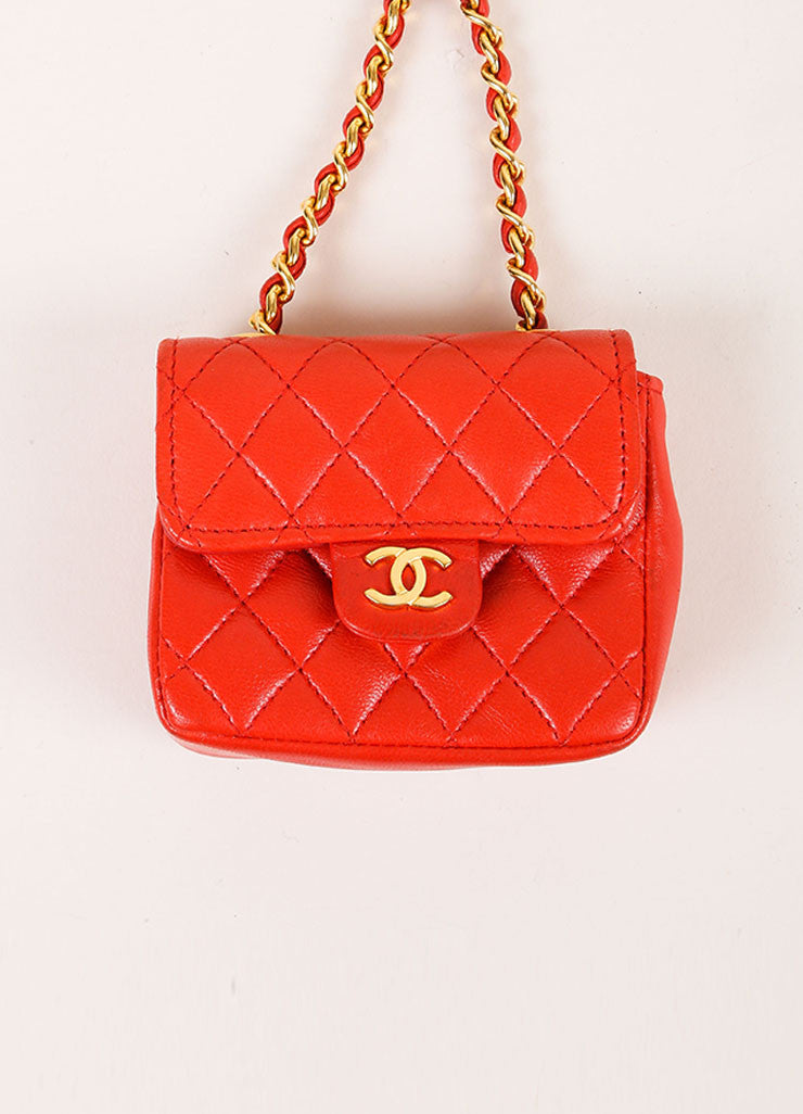 Chanel Red Mini Lambskin Flap Bag Belt Bag Frontview
