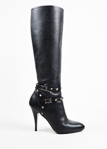 "Valentino Garavani Black Leather Knee High Stiletto ""Rockstud"" Boots Sideview"