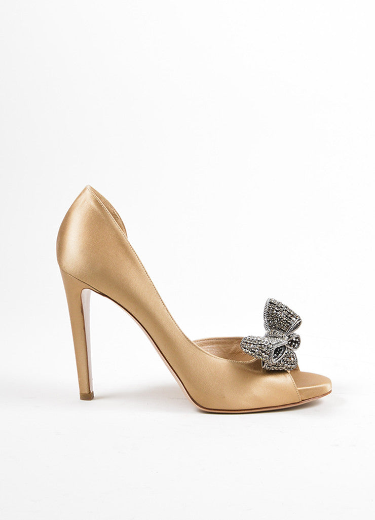 Gold Valentino Metallic Rhinestone Bow D'Orsay Pumps Side