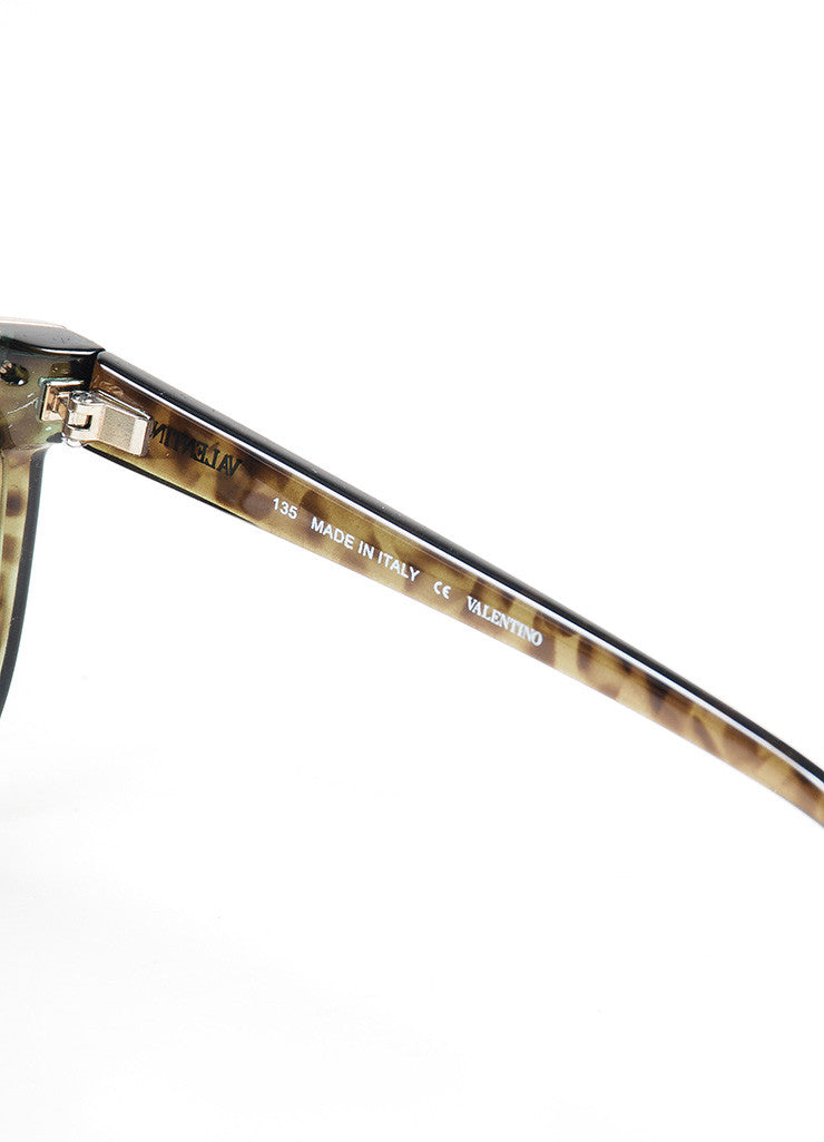 "Green, Brown, and Silver Toned Valentino Squared Oversized ""V05S"" Sunglasses Brand"