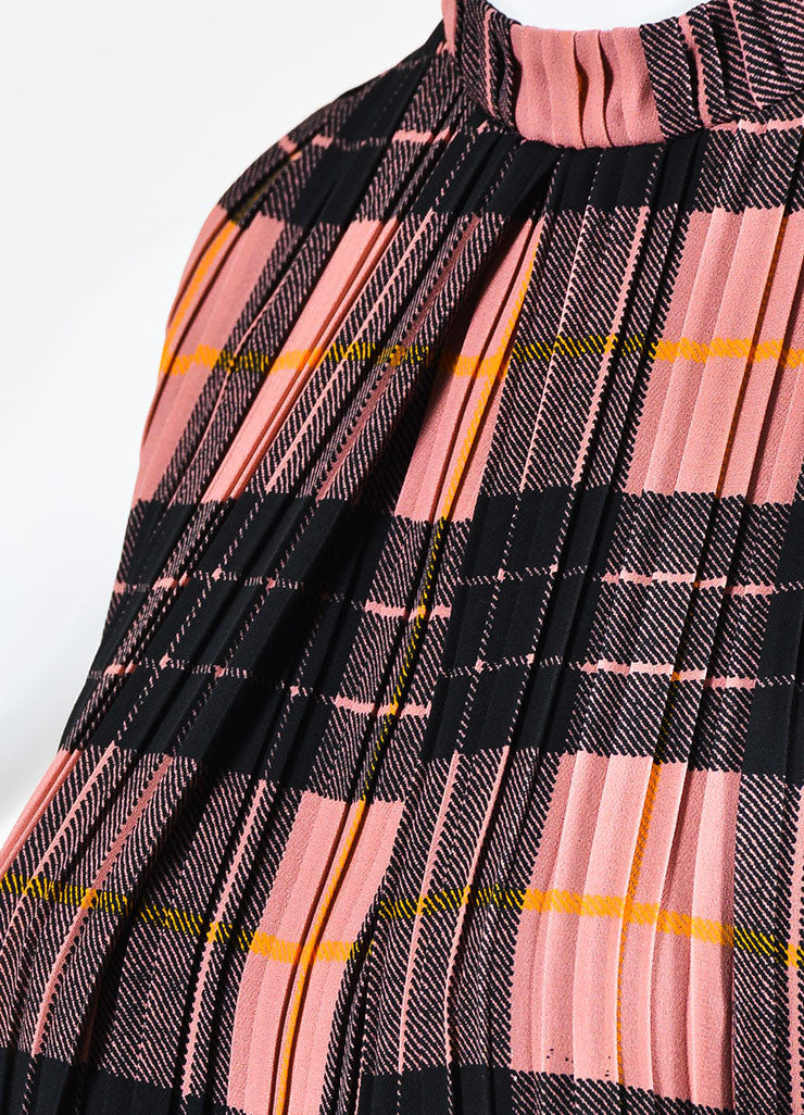 Victoria Victoria Beckham Pink and Black Plaid Pleated Dress Detail