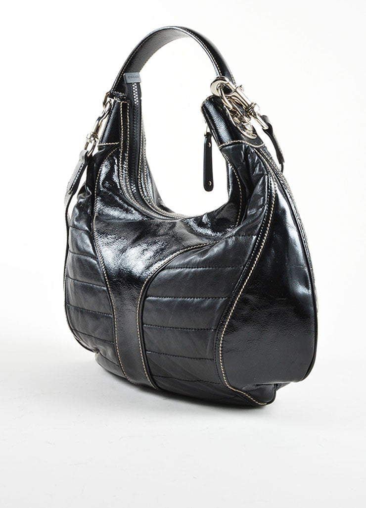 Gucci Black Patent Quilted Leather 'GG' Hobo Bag Sideview