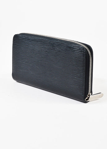 "Louis Vuitton ""Zippy"" Black and Silver Epi Leather Continental Wallet Sideview"
