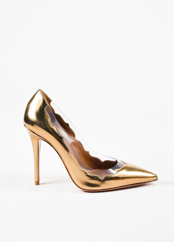"Aquazzura Dark Gold Metallic Leather Pointed Toe ""Leaf"" Pumps Sideview"