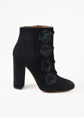 "Aquazzura ""Ulyana"" Black Suede and Mink Fur Pompon Heeled Ankle Booties Sideview"