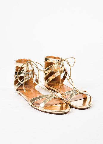 "Aquazzura Light Gold Leather Lace Up ""Beverly Hills"" Flat Sandals Frontview"