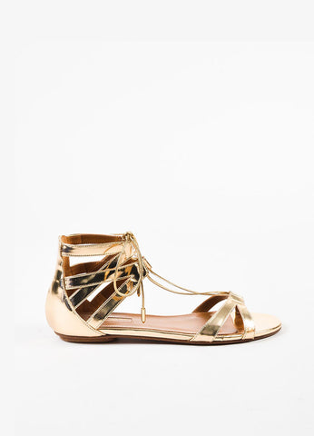 "Aquazzura Light Gold Leather Lace Up ""Beverly Hills"" Flat Sandals Sideview"