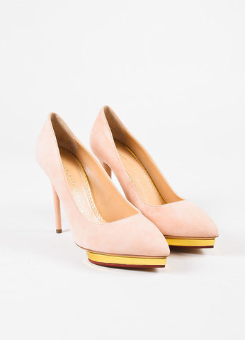 "Tod's ""Fragola"" Red Gold Suede Heeled ""Gomma"" Flats"
