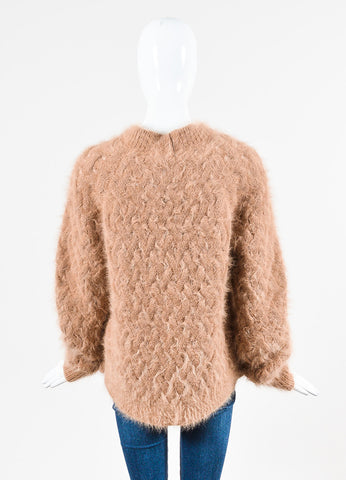 Balmain Blush Pink Fuzzy Angora Wool Woven Cable Knit Sweater Backview