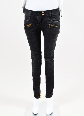 Balmain Charcoal Grey Denim Zipped Pocket Trapunto Moto Jeans  Frontview