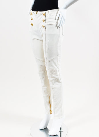 Balmain White Denim Lion Button Trapunto Distressed Moto Jeans Sideview