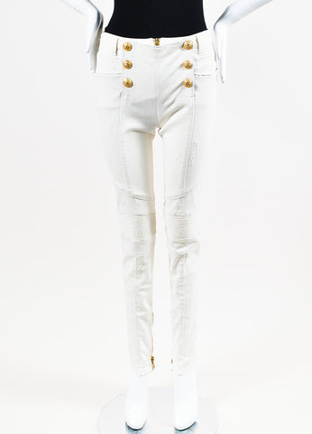Balmain White Denim Lion Button Trapunto Distressed Moto Jeans Frontview