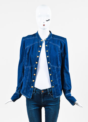 Balmain Blue Denim Embellished Button Up Long Sleeve Top Frontview