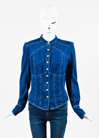 Balmain Blue Denim Embellished Button Up Long Sleeve Top Frontview 2