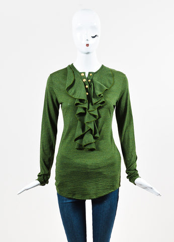 Balmain Olive Green Wool Knit Ruffle Button Down Long Sleeve Top Frontview