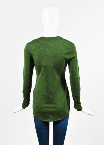 Balmain Olive Green Wool Knit Ruffle Button Down Long Sleeve Top Backview