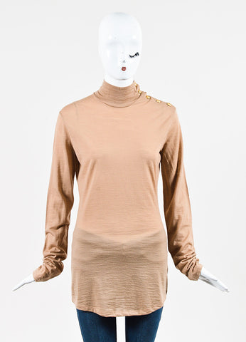 Balmain Tan Wool Knit Button Accent Long Sleeve Top Frontview