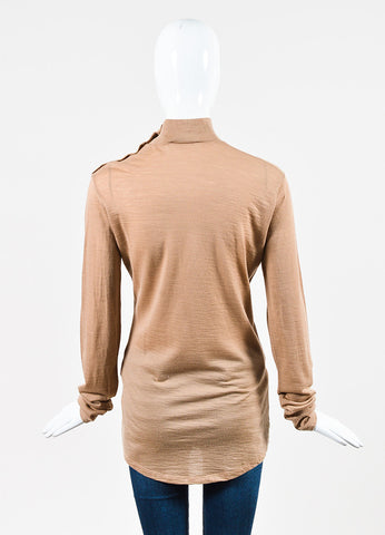 Balmain Tan Wool Knit Button Accent Long Sleeve Top Backview