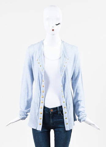 Balmain Blue and White Wool Eyelet Trim Button Down Long Sleeve Top Frontview
