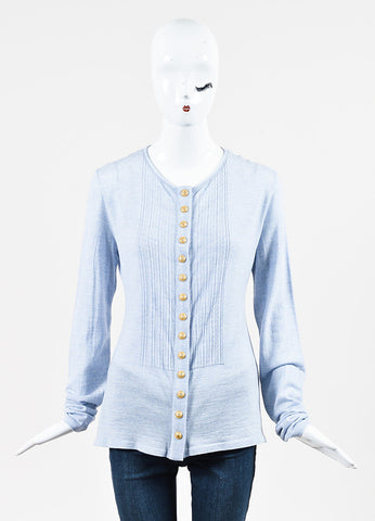 Balmain Blue and White Wool Eyelet Trim Button Down Long Sleeve Top Frontview 2