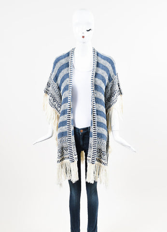 "Calypso St. Barth Blue Cream Striped Fringe ""Brysiss"" Poncho Cardigan Frontview"