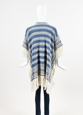 "Calypso St. Barth Blue Cream Striped Fringe ""Brysiss"" Poncho Cardigan Backview"