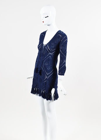"Calypso St. Barth ""Perfa"" Navy Crochet Tasseled and Fringed Dress Sideview"
