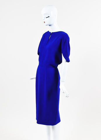 "Lela Rose ""Lapis"" Blue Wool Crepe Cape Sleeve Fitted Dress Sideview"
