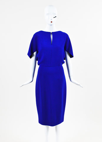 "Lela Rose ""Lapis"" Blue Wool Crepe Cape Sleeve Fitted Dress Frontview"