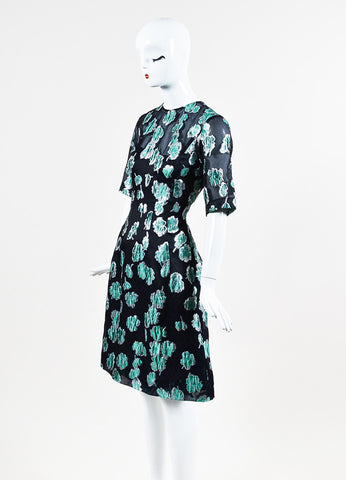 "Lela Rose ""Holly"" Navy, Silver, and Green Dress Sideview"