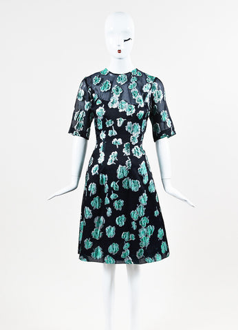 "Lela Rose ""Holly"" Navy, Silver, and Green Dress Frontview"