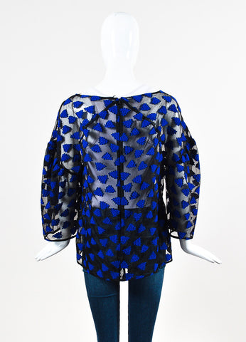 "Lela Rose Black ""Lapis"" Organza Embroidered Sheer Long Sleeve Blouse Backview"