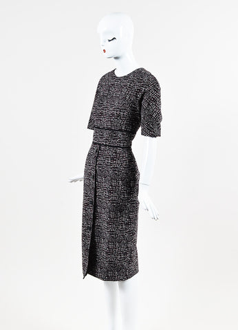 """Seamed Fitted"" Black, Crimson, and White Jacquard Dress Sideview"
