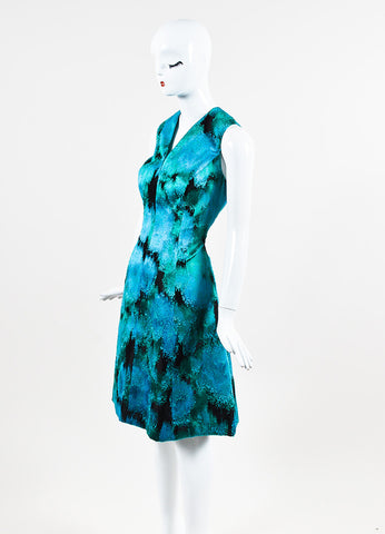Lela Rose Black, Blue, and Green Ikat Patterned V Neck Shift Sideview