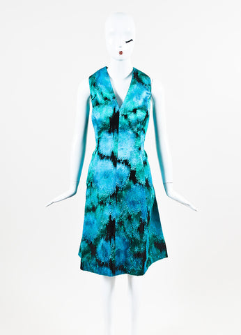 Lela Rose Black, Blue, and Green Ikat Patterned V Neck Shift Frontview