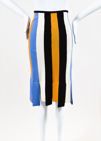 Salvatore Ferragamo Yellow and Lavender Knit Striped Slit Skirt Frontview