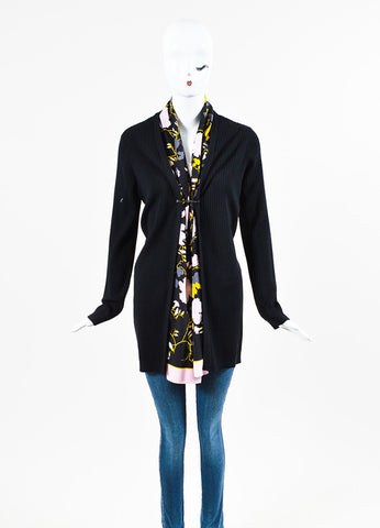 Salvatore Ferragamo Black and Multicolor Wool and Silk Floral Scarf Cardigan Frontview 2