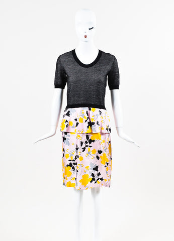Salvatore Ferragamo Black, Pink, and Yellow Wool and Silk Floral Peplum Dress Frontview