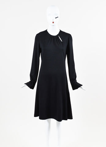 Salvatore Ferragamo Black Knit Soft Pleated Trim Long Sleeve Shift Dress Frontview