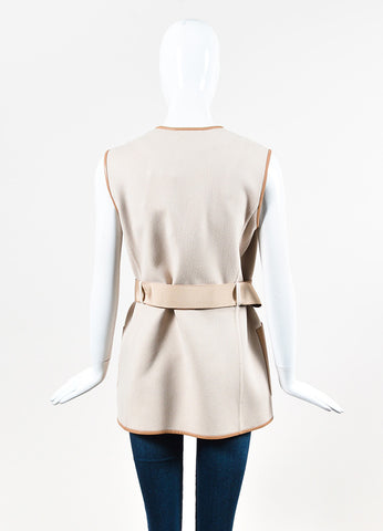Salvatore Ferragamo Beige Wool, Cashmere, and Leather Trim Belted Vest Backview