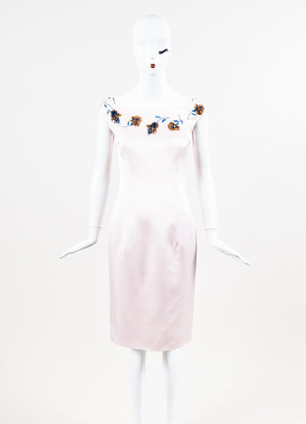 "Christian Dior ""Rose"" Satin Gold Floral Embroidered Sleeveless Shift Dress Frontview"