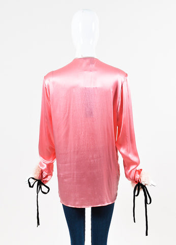 "Haider Ackermann ""New Pink"" Satin Ruffled ""Iteso"" Long Sleeve Blouse Backview"
