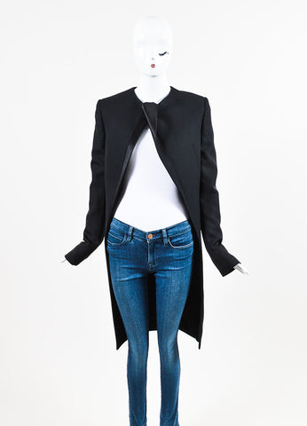 "Haider Ackermann ""Orbai"" Black Wool Satin Lapel Long Jacket Frontview 2"